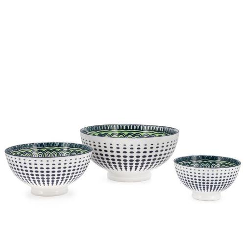 Kiri Porcelain Green Mandala Bowl - 3 Sizes