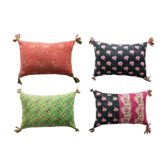 Cotton Bengali Rali Lumbar Pillow with Tassels, Multi Color (Each One Will Vary)