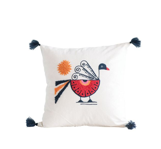 "18"" Square Cotton Pillow with Embroidered Peacock & Tassels"