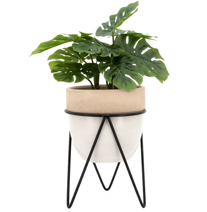 Sedona Ceramic Planter On Metal Stand - 3 Sizes