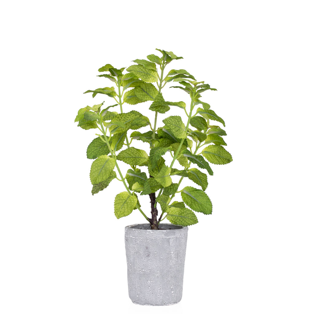 Provence Rustic Potted Faux Mint Herb Plant