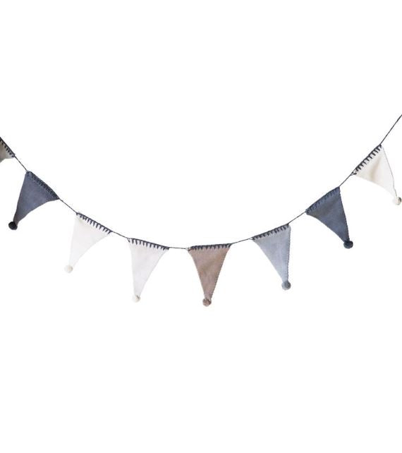 Cotton Knit Flag Garland with Pom Poms
