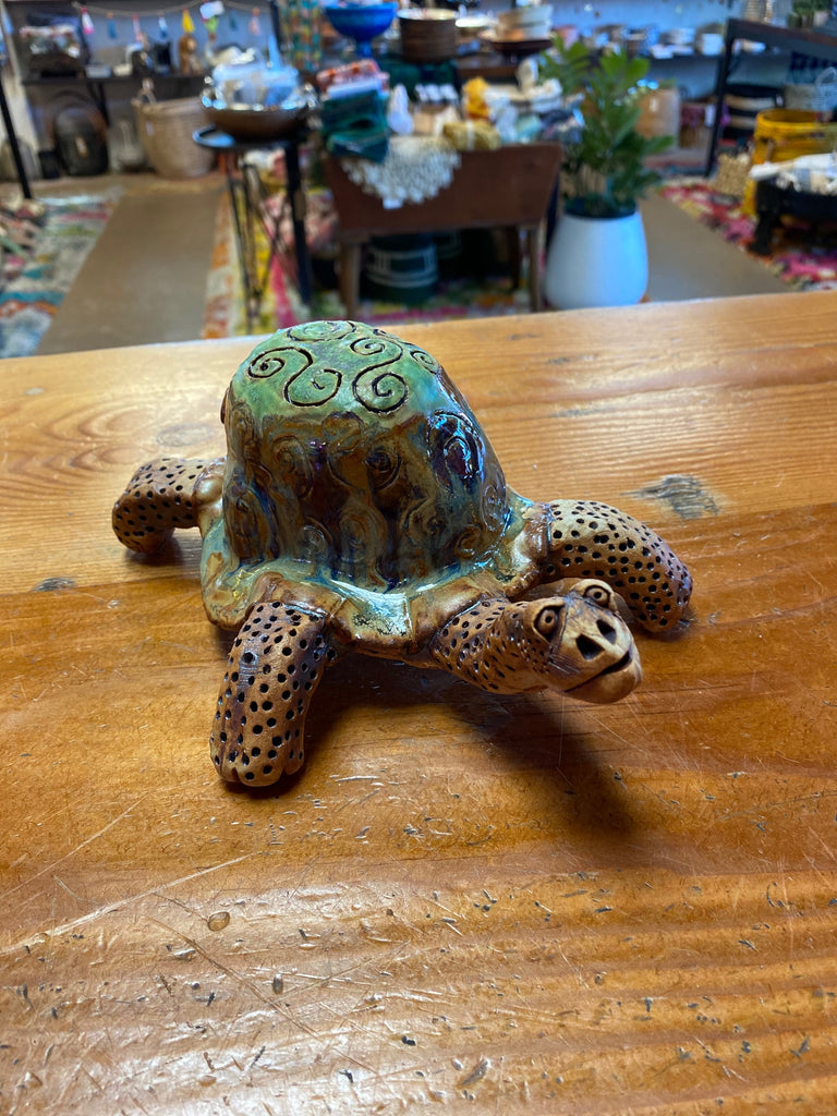 Handmade Glazed Ceramic Turtle