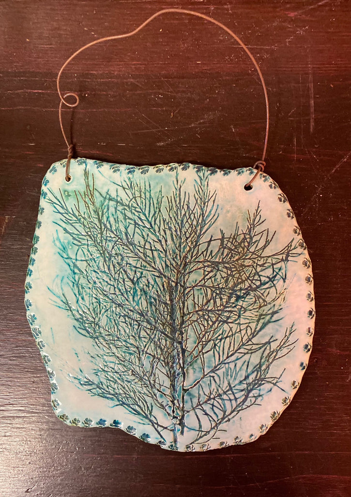 Handmade Glazed Ceramic Wall Decor - Debossed Foliage