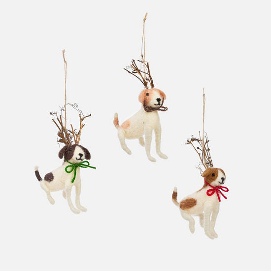 Dog Twig Antler Ornament, 3 Styles