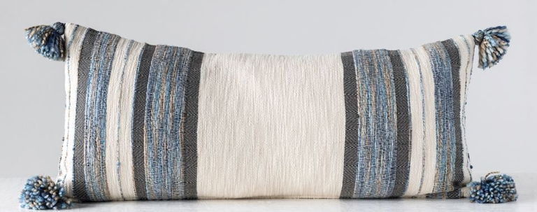 Woven Cotton & Wool Striped Lumbar Pillow with Tassels