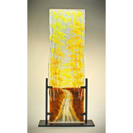 Autumn Road in Styx Glass Frit Painting
