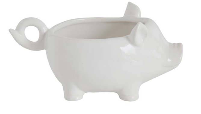 White Ceramic Pig Planter