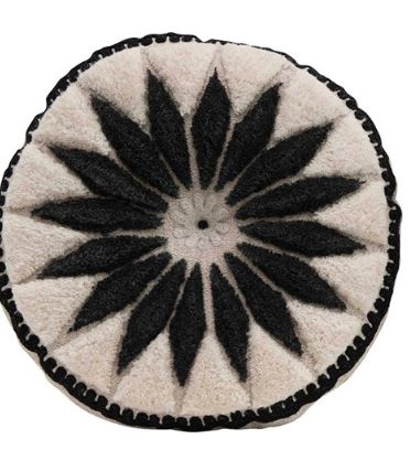 Wool Embroidered Round Pillow