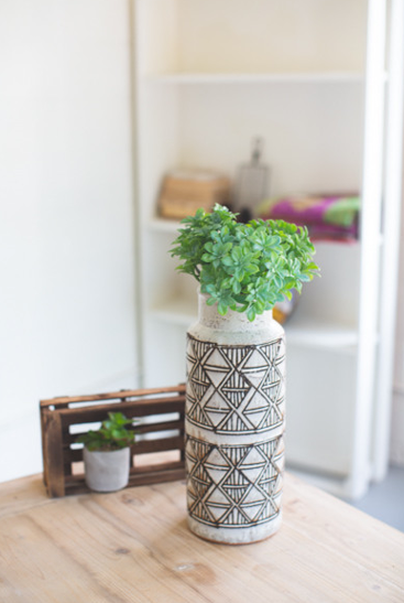 Tall Geometric Ceramic Vessel