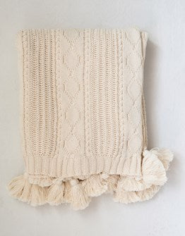"Natural 60""L x 50""W Cotton Knit Cable Throw with Tassels"