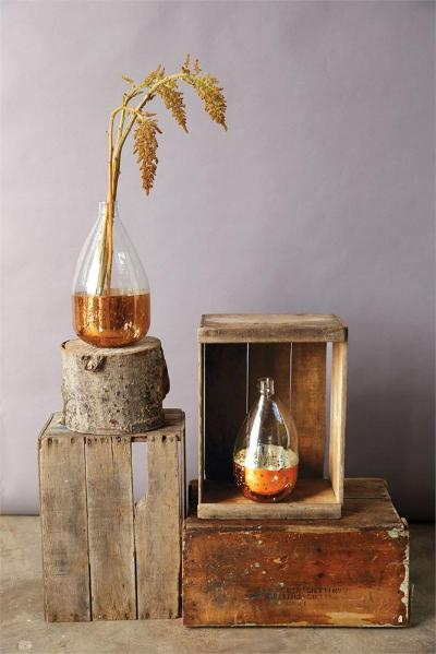 Glass Balloon Vase with Antique Copper Detail