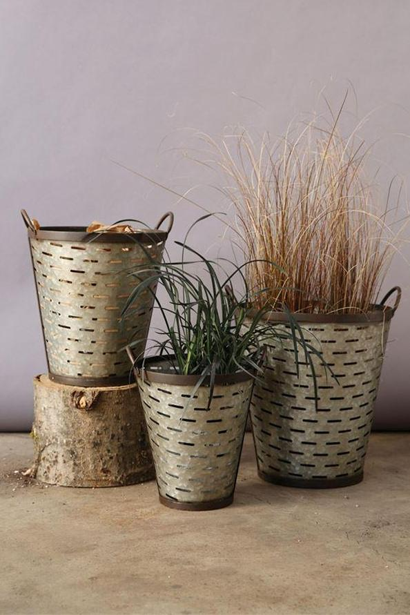 Set of 3 Metal Olive Buckets with Handles