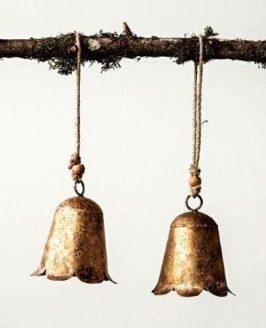 Distressed Gold Finish Metal Flower Bell