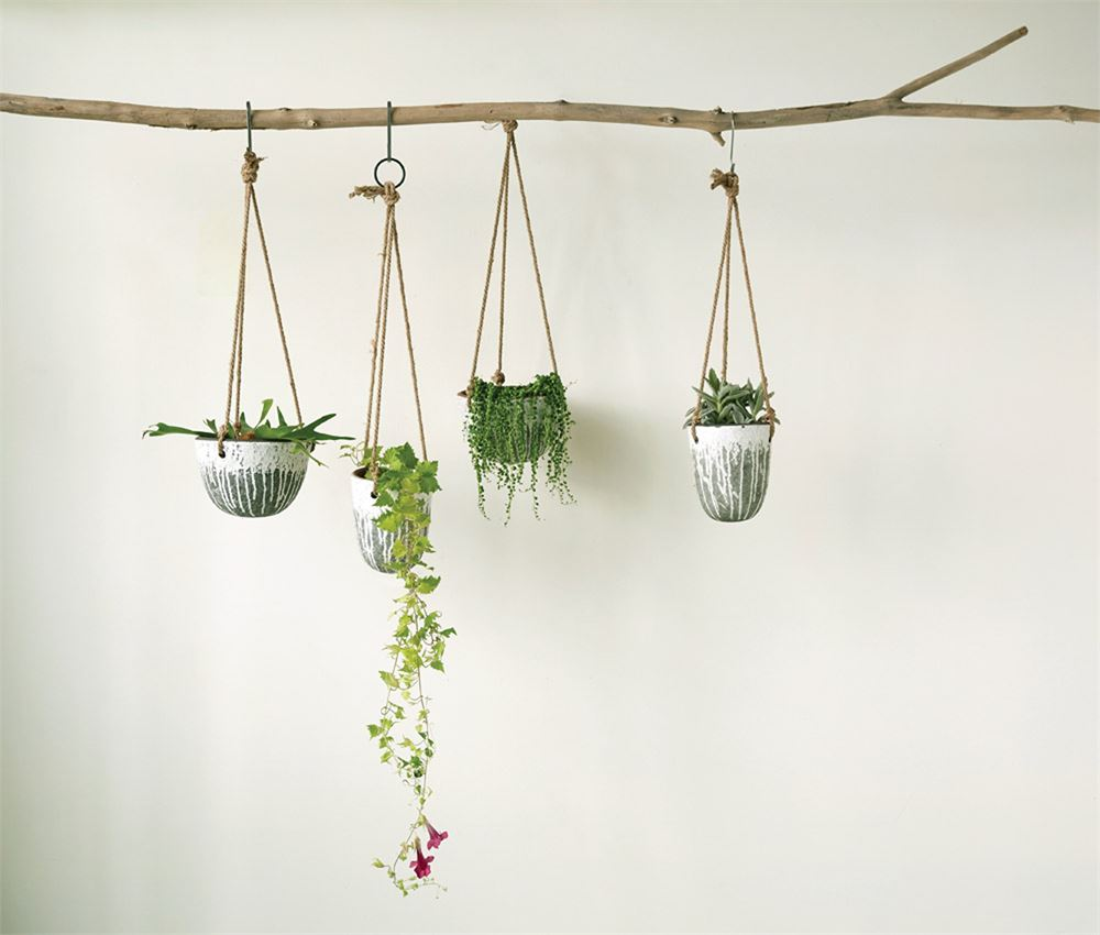 Distressed White Finish Hanging Terra-Cotta Planter - 2 Sizes