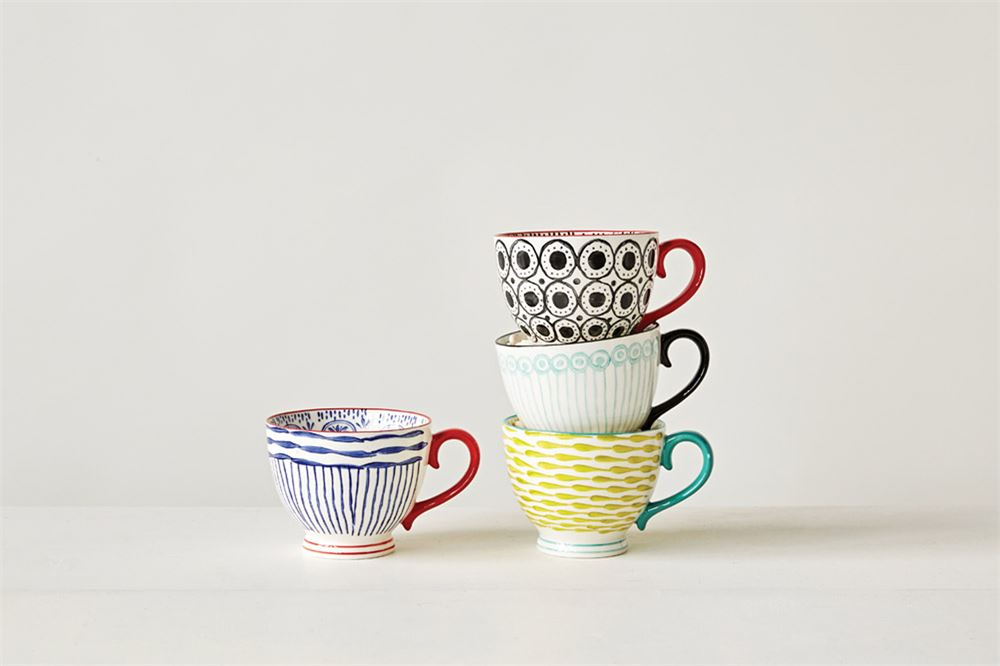 Set of 4 Hand-Painted Stoneware Mug
