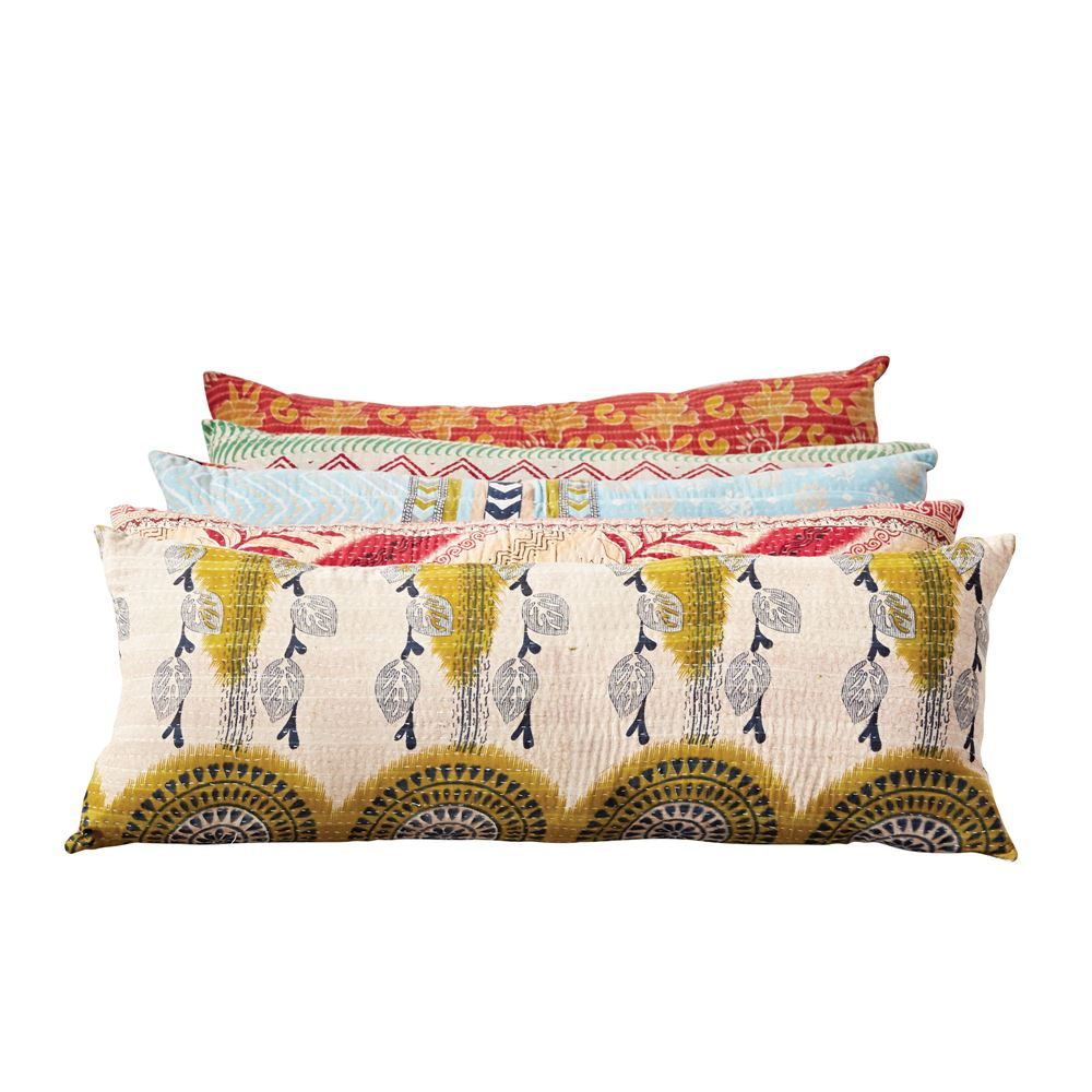 Cotton Vintage Kantha Quilt Lumbar Pillow