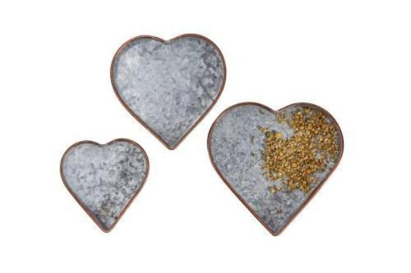Set of 3 Decorative Galvanized Metal Copper Heart Tray