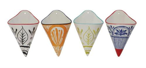 Hand-Painted Stoneware Wall Cone Vases - 4 variations