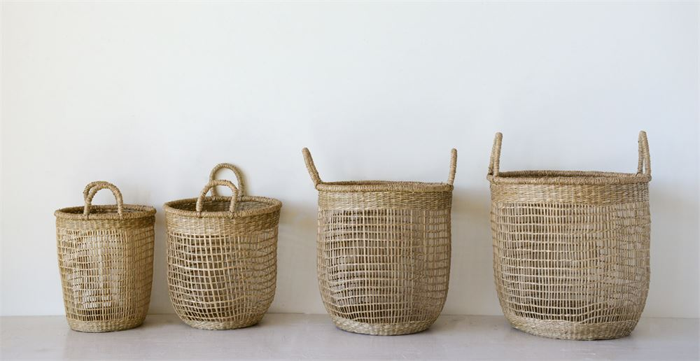 Set of 4 Woven Natural Seagrass Baskets with Handles