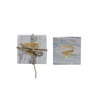 Square Marble Coasters w/ Acacia Wood Heart Inset, Set of 4