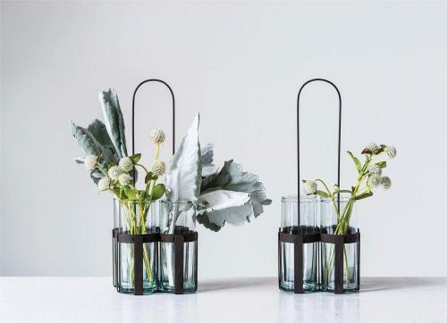 Metal Holder with 4 Glass Vases