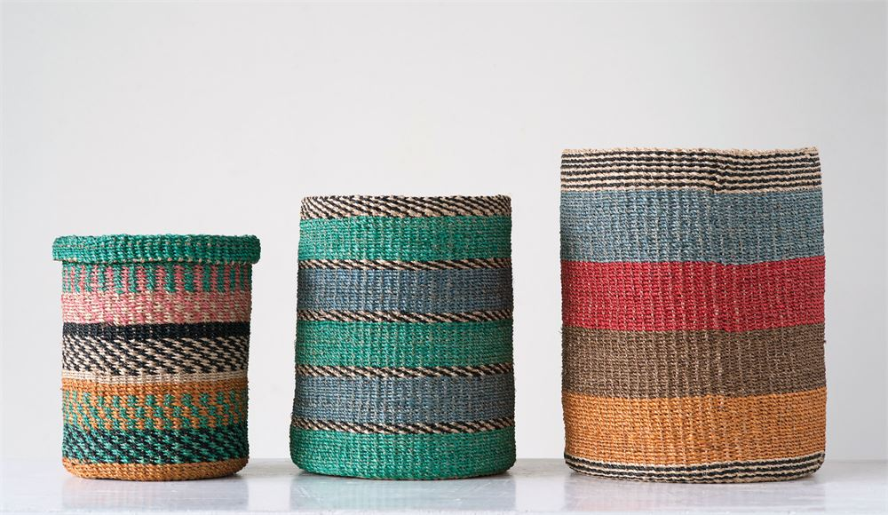 Set of 3 Multi Colored Hand-Woven Abaca Baskets