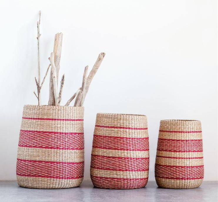 Set of 3 Red/Pink Natural Woven Seagrass Striped Baskets