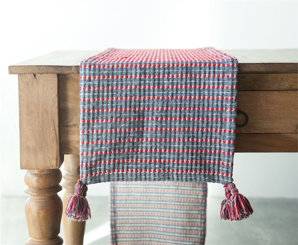 Red & Blue Cotton Woven Seersucker Table Runner with Tassels