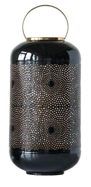 Black Enameled Punched Lantern with Brass Finish Handle - 2 Sizes