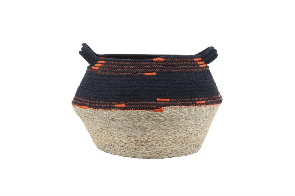 Black & Orange Hand-Woven Natural Seagrass & Cotton Rope Basket with Handles