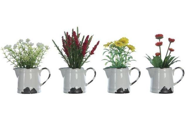 Faux Flowers in Ceramic Pitcher with Distressed Finish - 4 Styles
