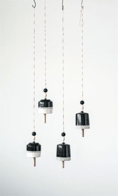 Black & White Hand-Painted Stoneware Bell on Rope Hanger