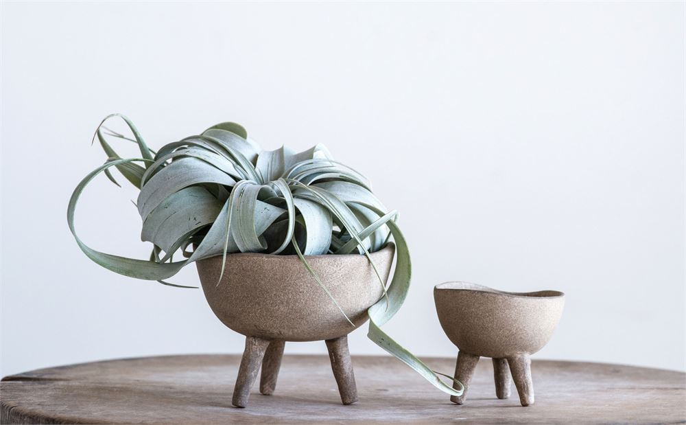 Matte Taupe Terra-cotta Footed Planters