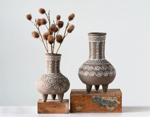 Hand-Painted Terra-cotta Footed Vase