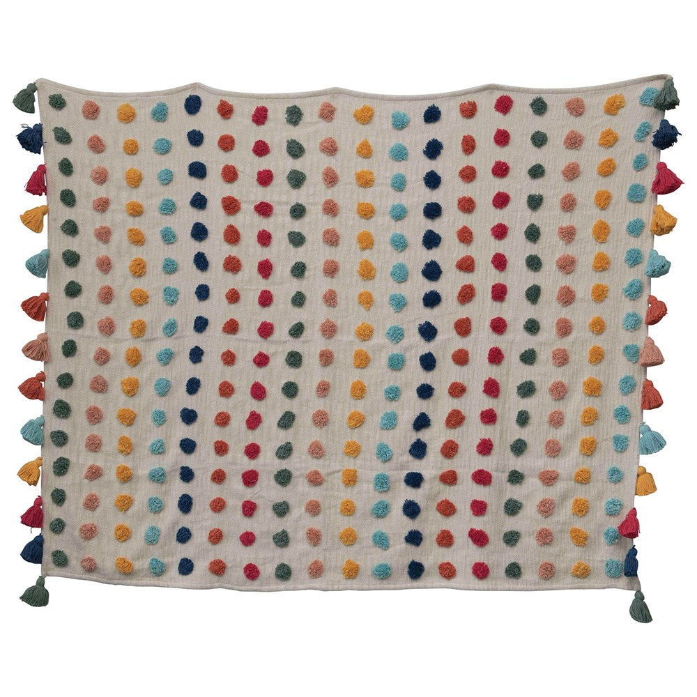 Woven Cotton Throw w/ Tufted Dots & Tassels