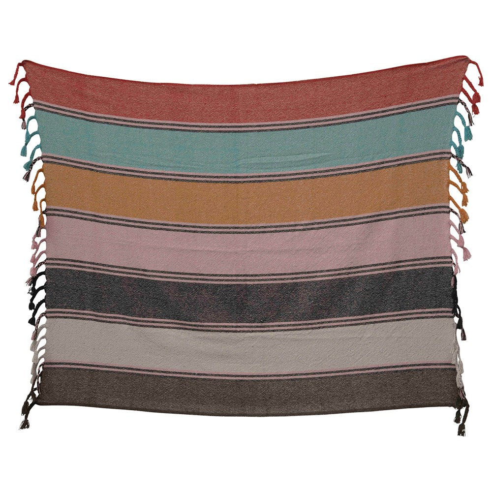 Recycled Cotton Blend Striped Throw w/ Braided Fringe