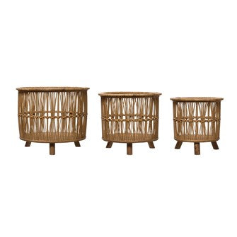 Bamboo Footed Baskets - 3 Sizes