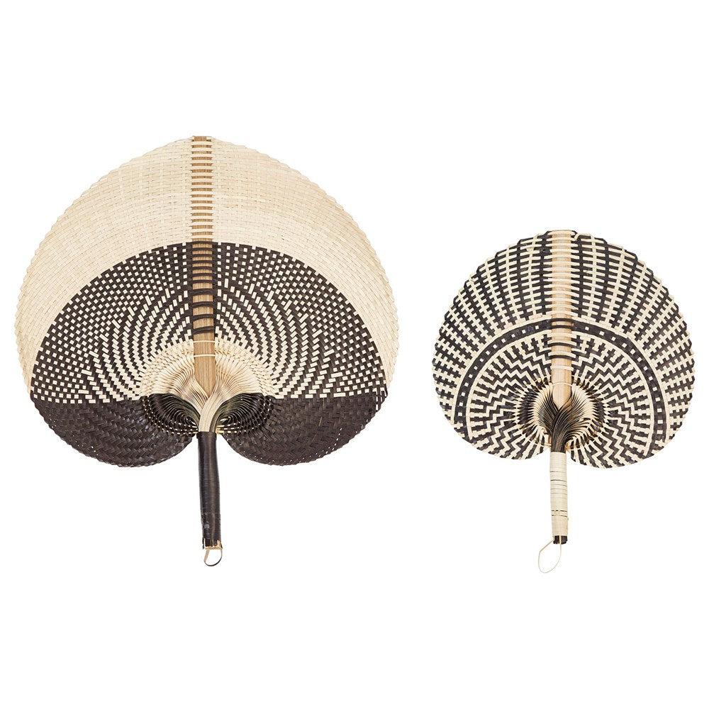 Hand-Woven Fans, Black & Natural - 2 Styles