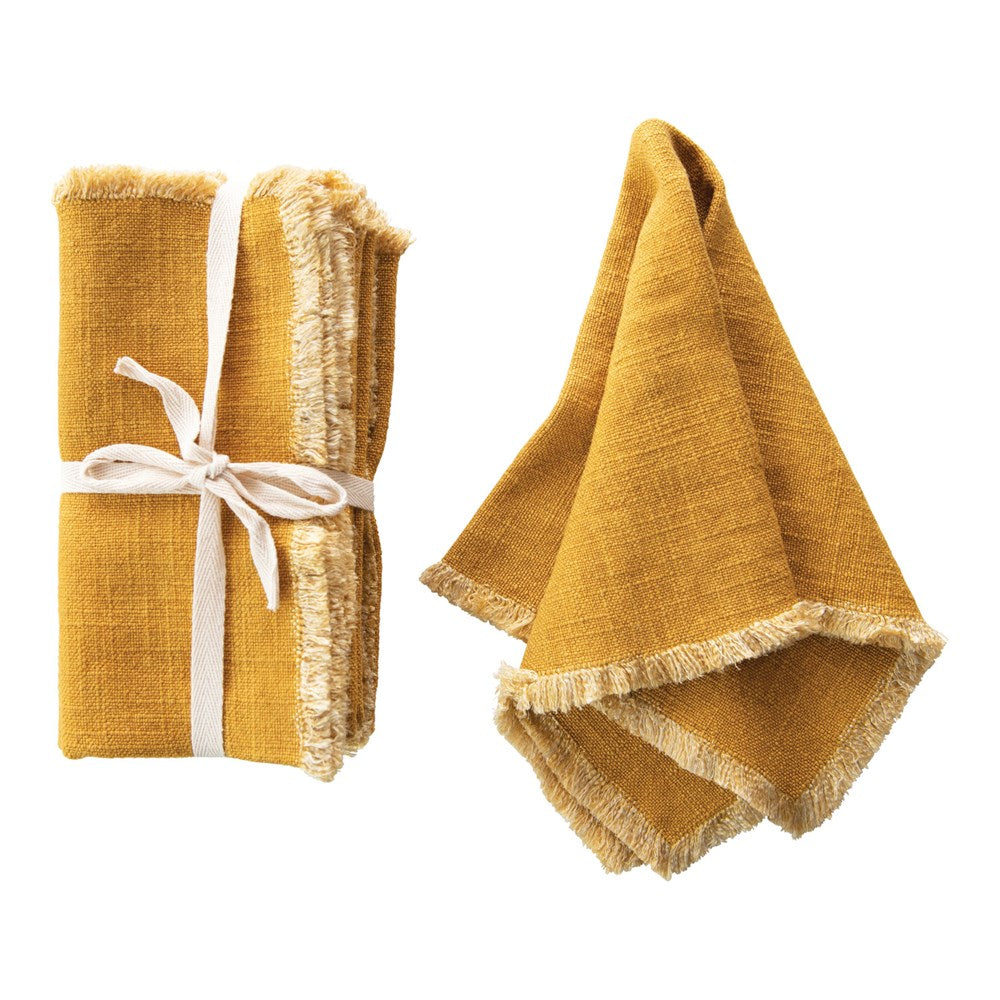 Square Linen Blend Napkin with Fringe Trim, Mustard Color, Set of 4