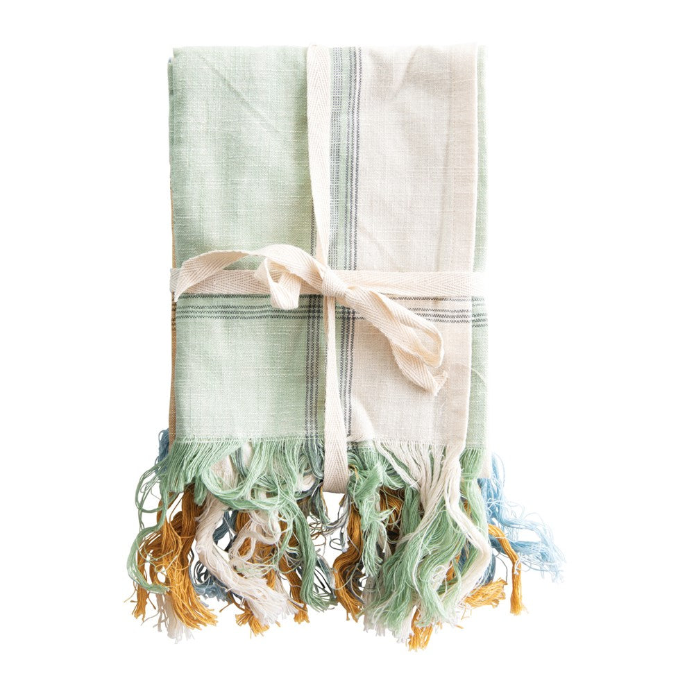 Cotton Tea Towels with Fringe, 3 Colors, Set of 3