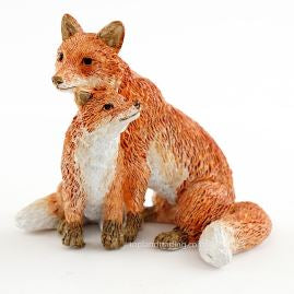 Mama Red Fox with Baby  - Garden to Go Figurine