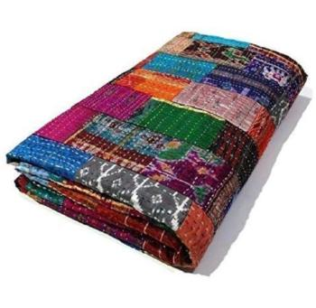 Multi Colored King Kantha Patchwork Quilt