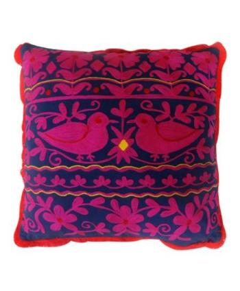 Handmade Rabari Square Pillow - Purple/Pink