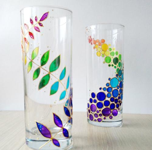 Handpainted Rainbow Glasses