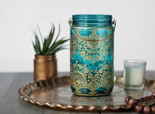 Handpainted Teal Utensil Jar - 2 Colors