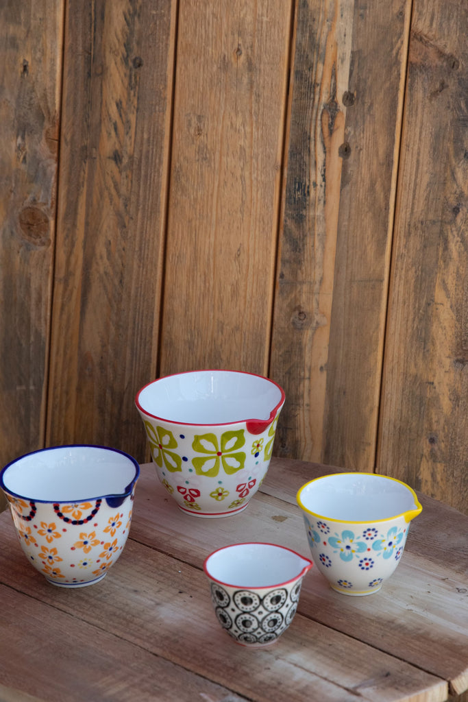 Set of 4 Hand-Painted Stoneware Measuring Cups with Floral Pattern