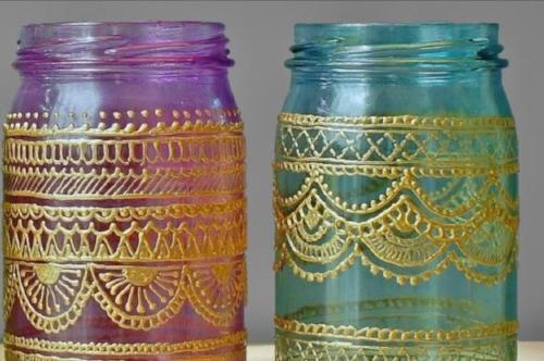 Set of 4 Handpainted Hanging Mason Jars