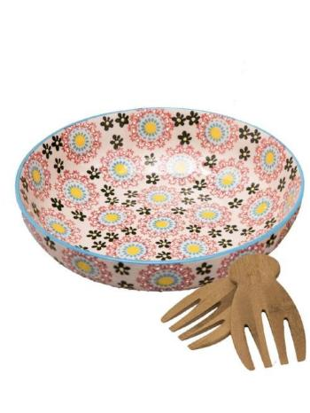 Large Flower Salad Bowl with Tongs