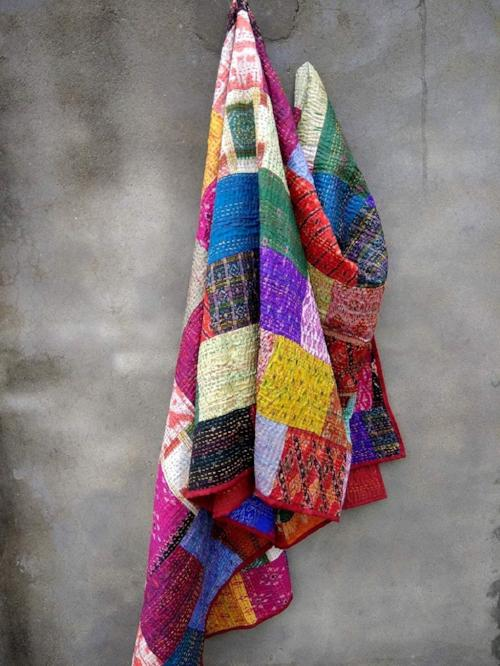 Multi Colored Queen Kantha Patchwork Quilt